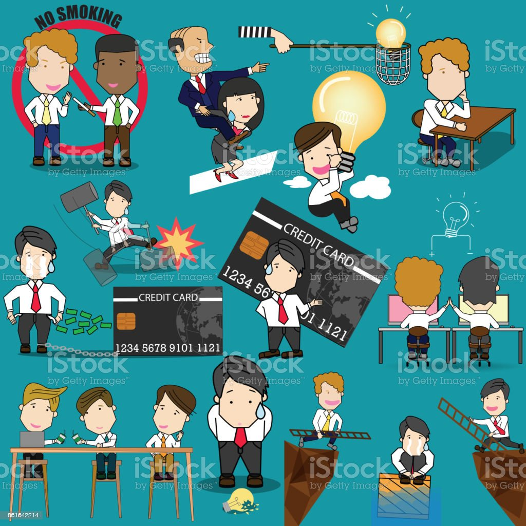 employee character poses and action activity. vector art illustration