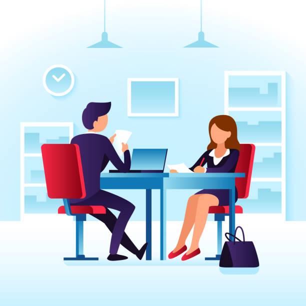 ilustrações de stock, clip art, desenhos animados e ícones de employee contender woman and impressed employer interviewer. job interview, meet at table cartoon vector concept - job interview