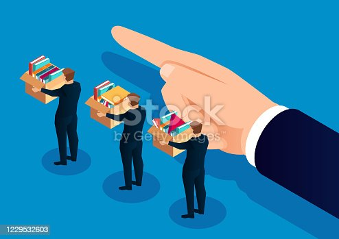 istock Employee dismissed, unemployment crisis, business people leave with their own file boxes 1229532603