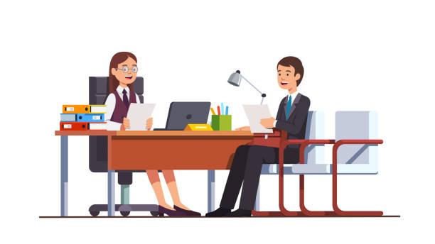 bildbanksillustrationer, clip art samt tecknat material och ikoner med medarbetare att ha position utvärdering anställningsintervju möte med boss kvinna med cv eller hr manager i direktör office. flat isolerade vektor - två människor