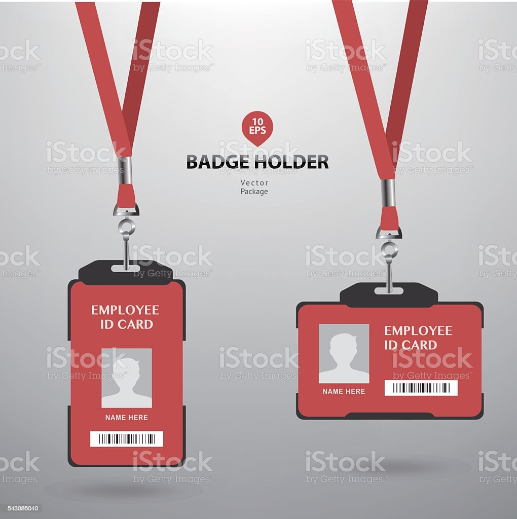 Employee Id Card And Badge Holder Stock Vector Art More Images Of - Employee id card