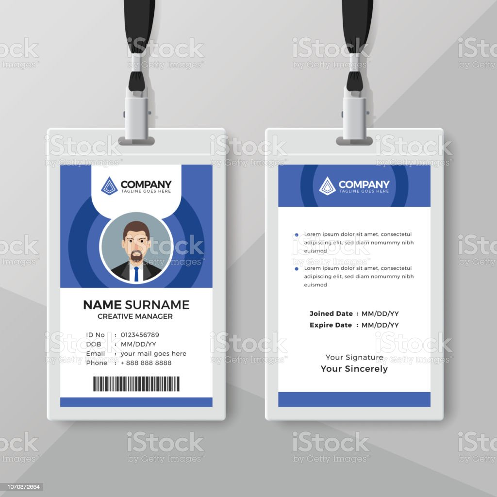 Employee Id Card Template With Blue Details Stock Illustration Download Image Now Istock