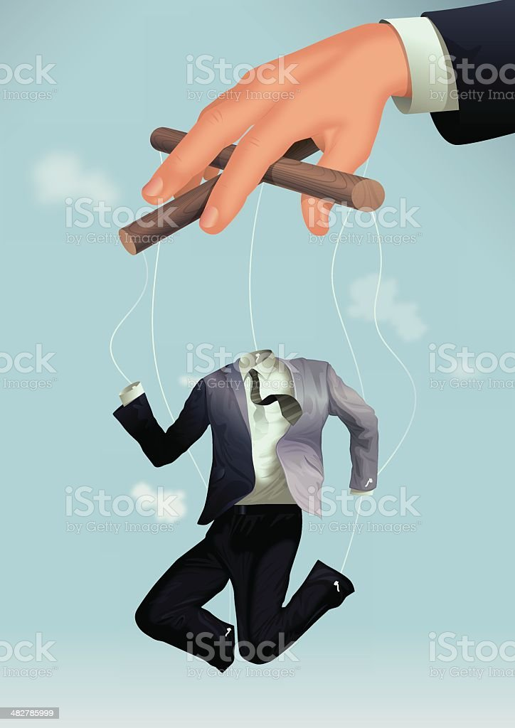 employee marionette vector art illustration