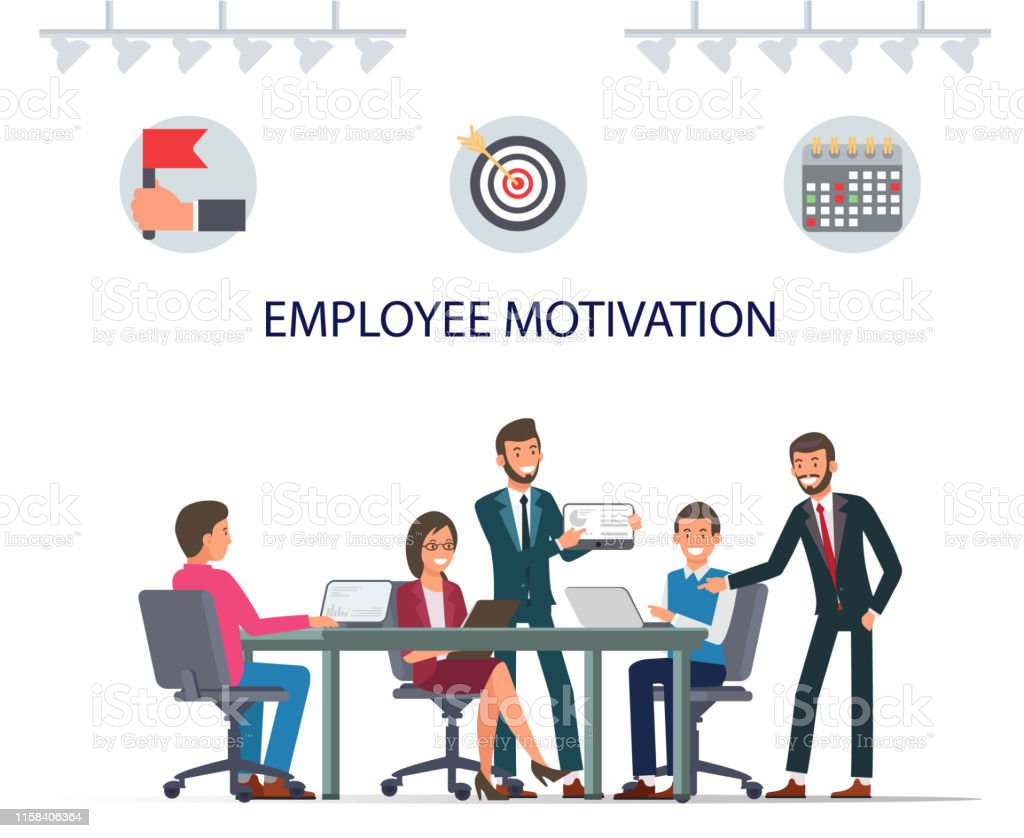 Employee Motivation Smilling Workers Teamwork Stock Illustration - Download  Image Now - iStock