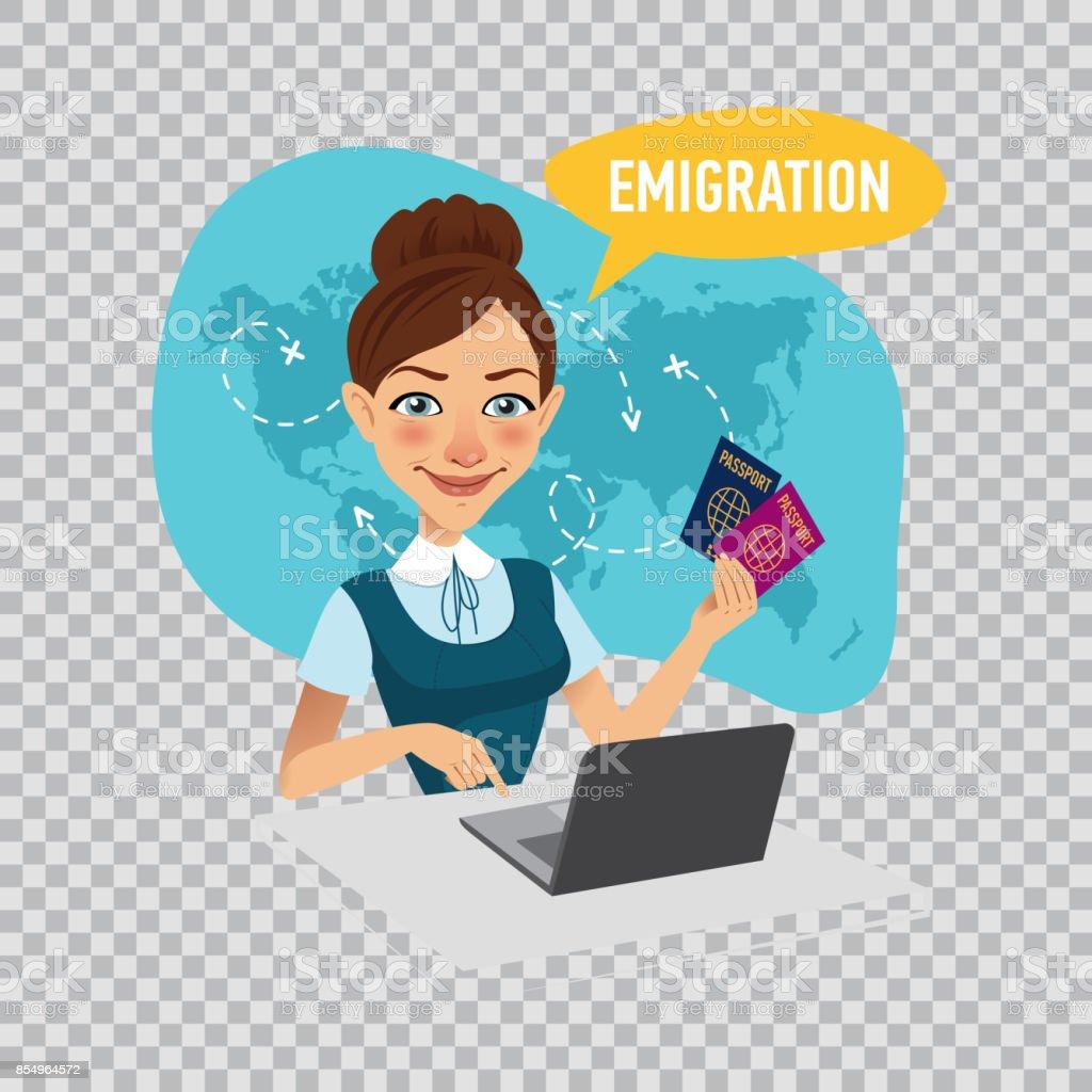 Employee of company prepares visas for immigrants. Emigration concept. Illustration on transparent background. vector art illustration