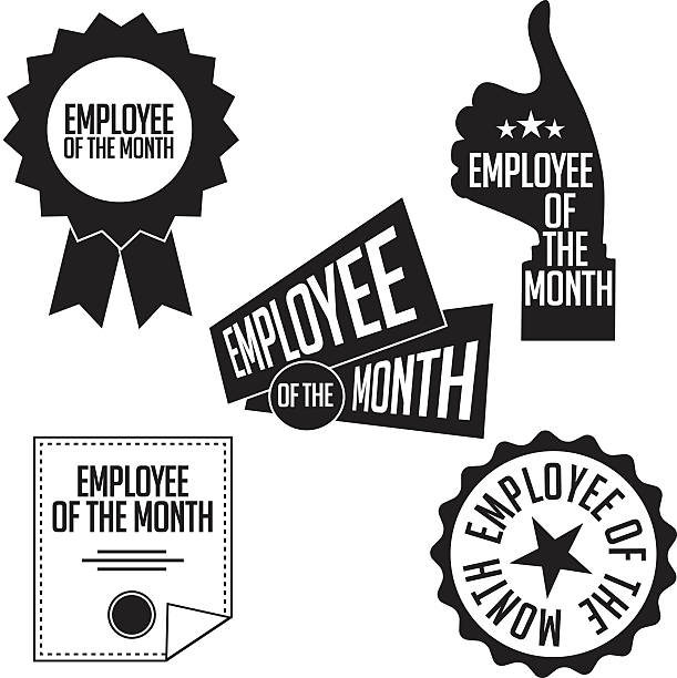 Employee of the month black and white icons and stamps vector art illustration