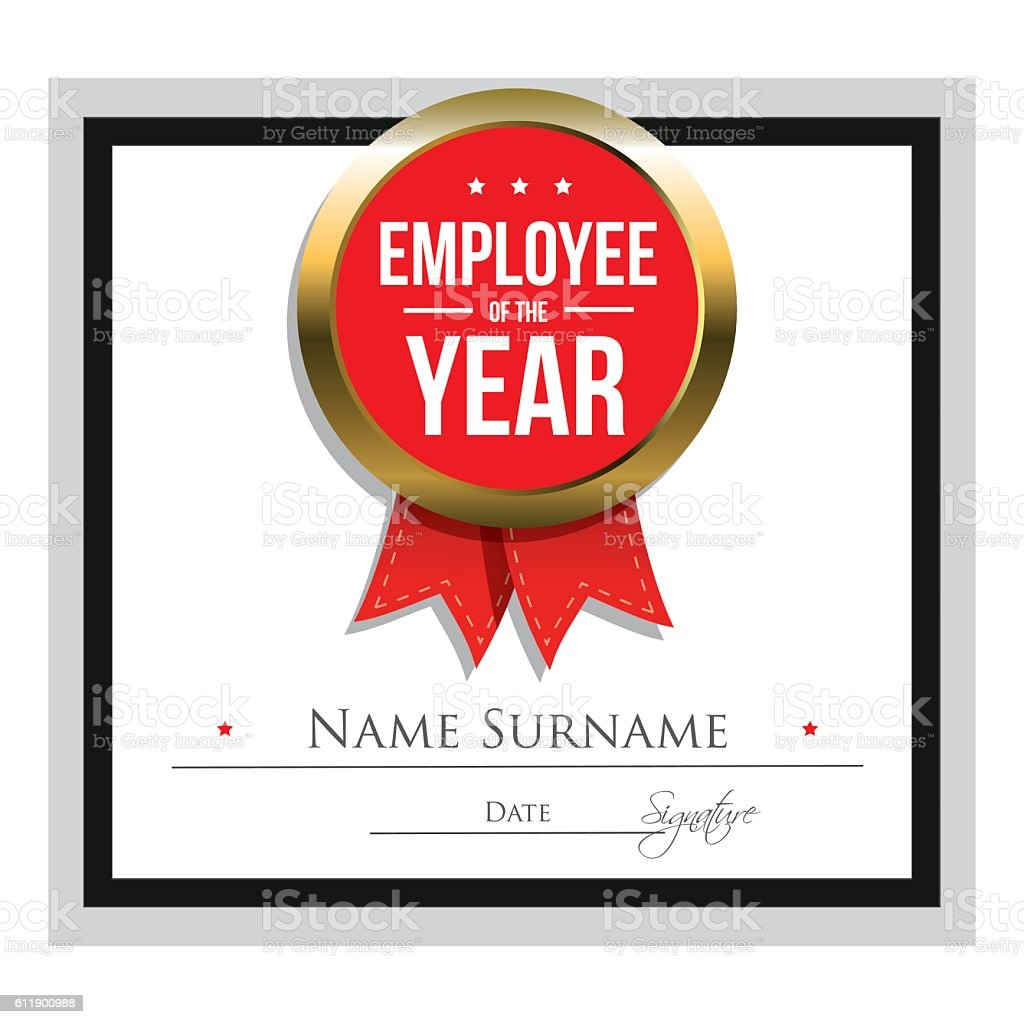 employee of the year certificate template イラストレーションの
