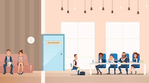 bildbanksillustrationer, clip art samt tecknat material och ikoner med anställd på soffa. anställnings intervju process i office - job interview