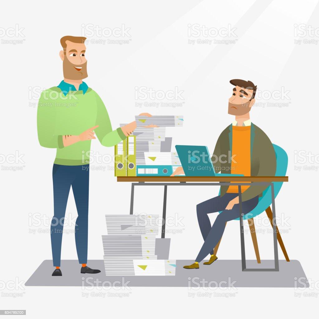 Employee receiving lot of paperwork vector art illustration