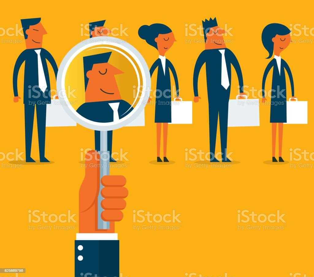 Employee search vector art illustration