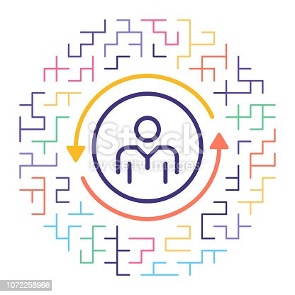 Line vector icon illustration of employee turnover rate with maze background.