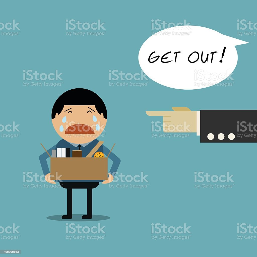 Employee was fired vector art illustration