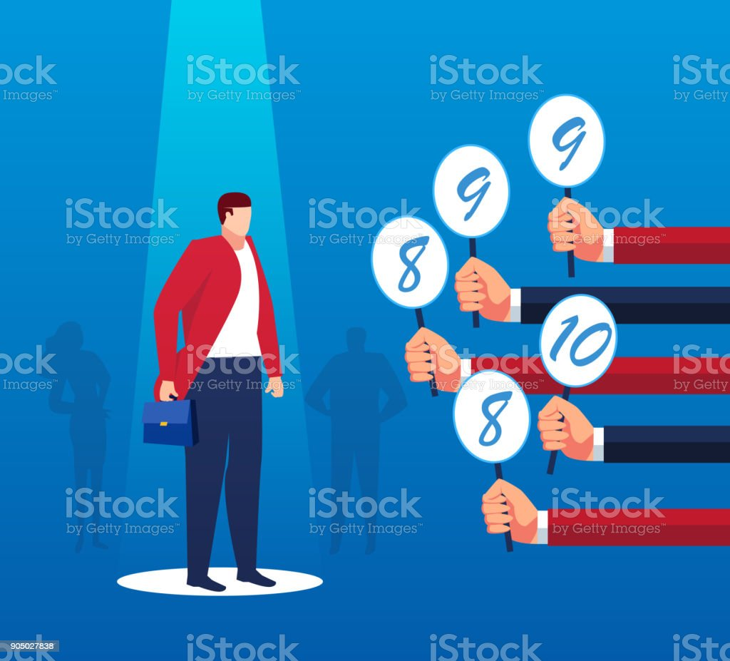 Employees are reviewed vector art illustration