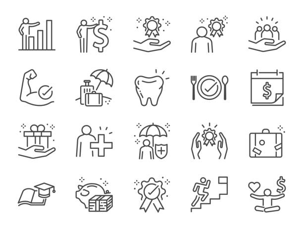 Employees benefits line icon set. Included icons as Teamwork, people relationship, Growth chart, staff perks, insurance and more. Employees benefits line icon set. Included icons as Teamwork, people relationship, Growth chart, staff perks, insurance and more. charity stock illustrations