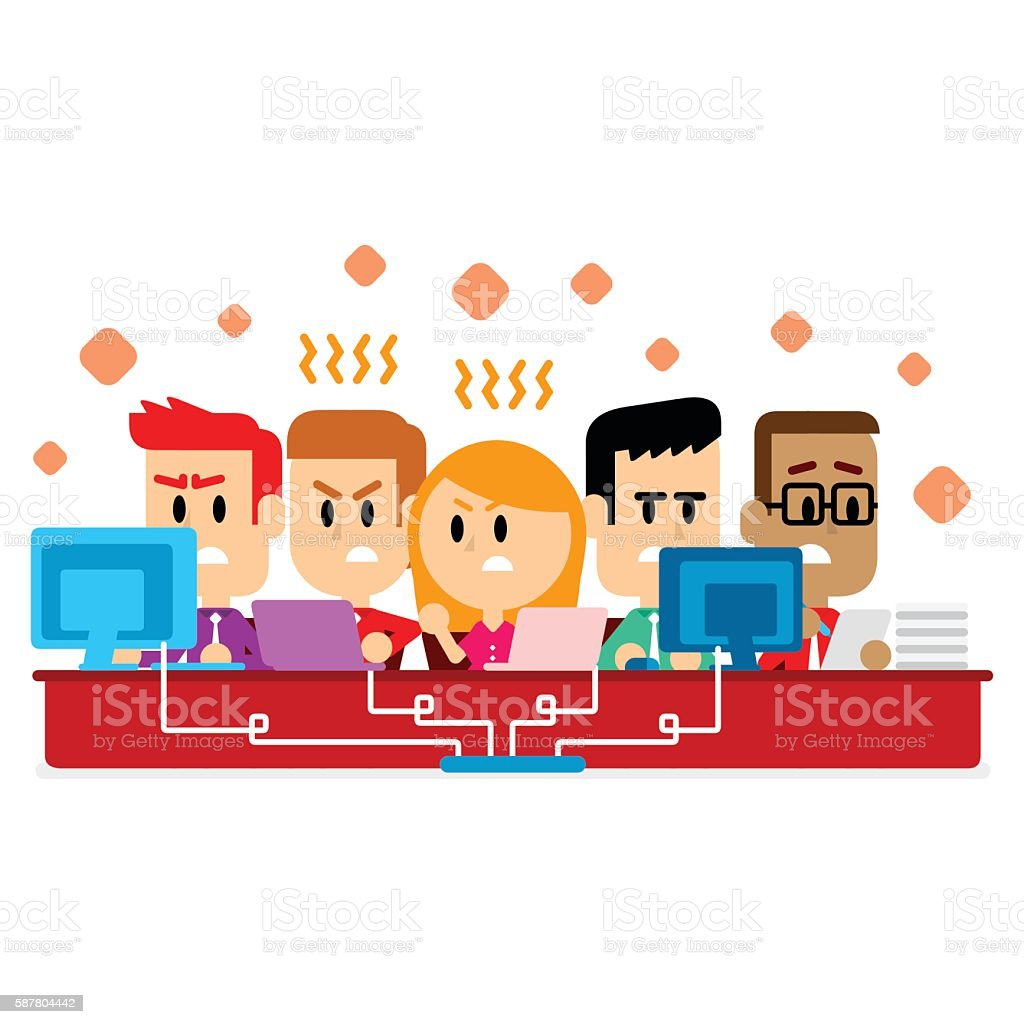 Employees feeling Uncomfortable Working in a Small & Crowded Room vector art illustration