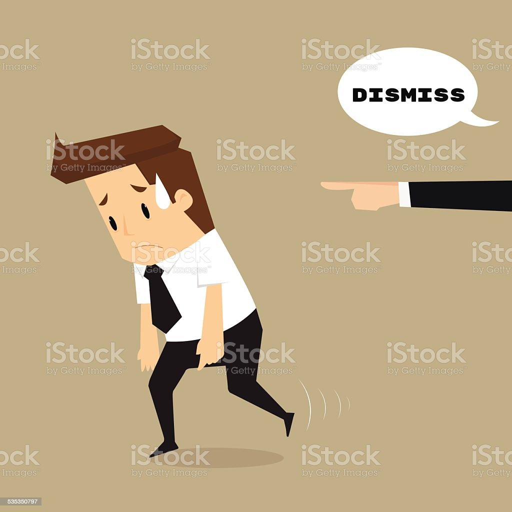 Employees getting fired by boss vector art illustration