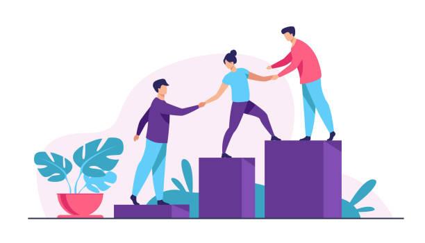 mitarbeiter geben hände und helfen kollegen, nach oben zu gehen - ausbilder stock-grafiken, -clipart, -cartoons und -symbole