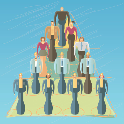 Employees in a pyramid