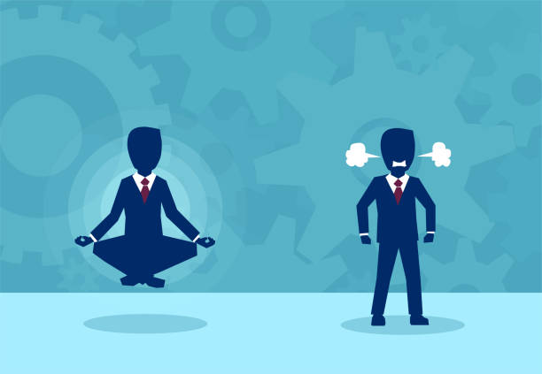 Employees in different states of mind Vector picture of businessman in meditation and angry colleague living in stress. attitude stock illustrations