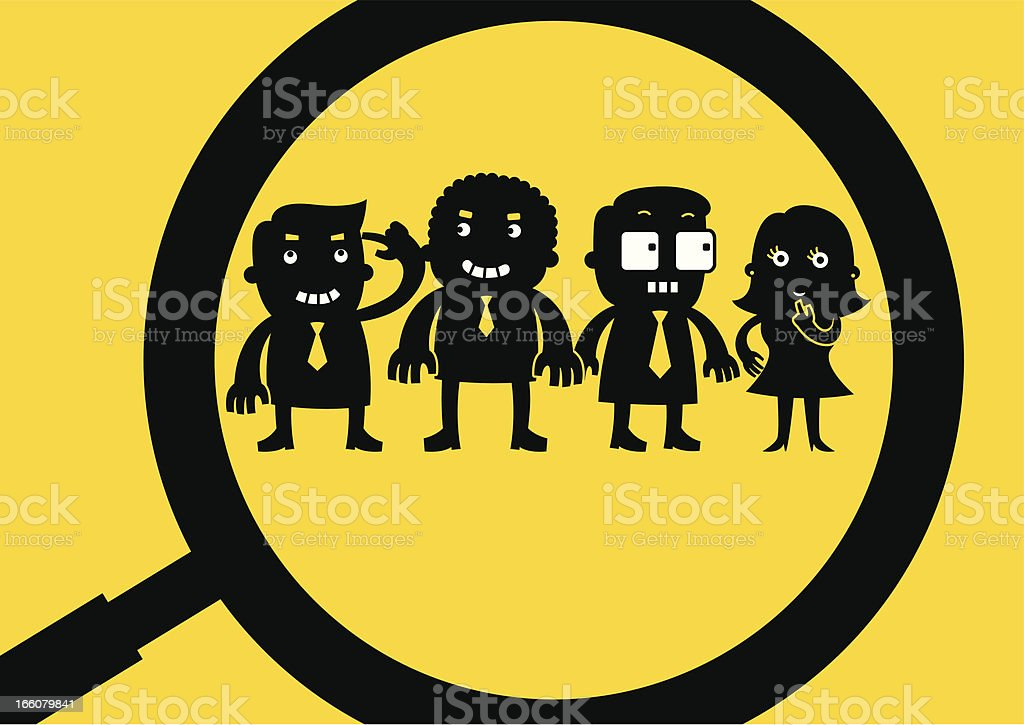 Employees Magnified | Yellow Business Concept royalty-free employees magnified yellow business concept stock vector art & more images of anxiety