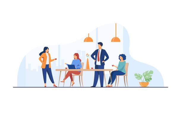 pracownicy spotykają się w kuchni biurowej i piją kawę - grupa przedmiotów stock illustrations