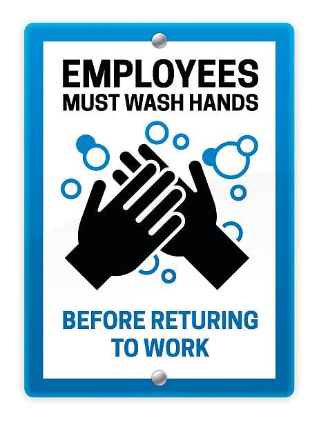 bildbanksillustrationer, clip art samt tecknat material och ikoner med employees must wash hands sign - washing hands