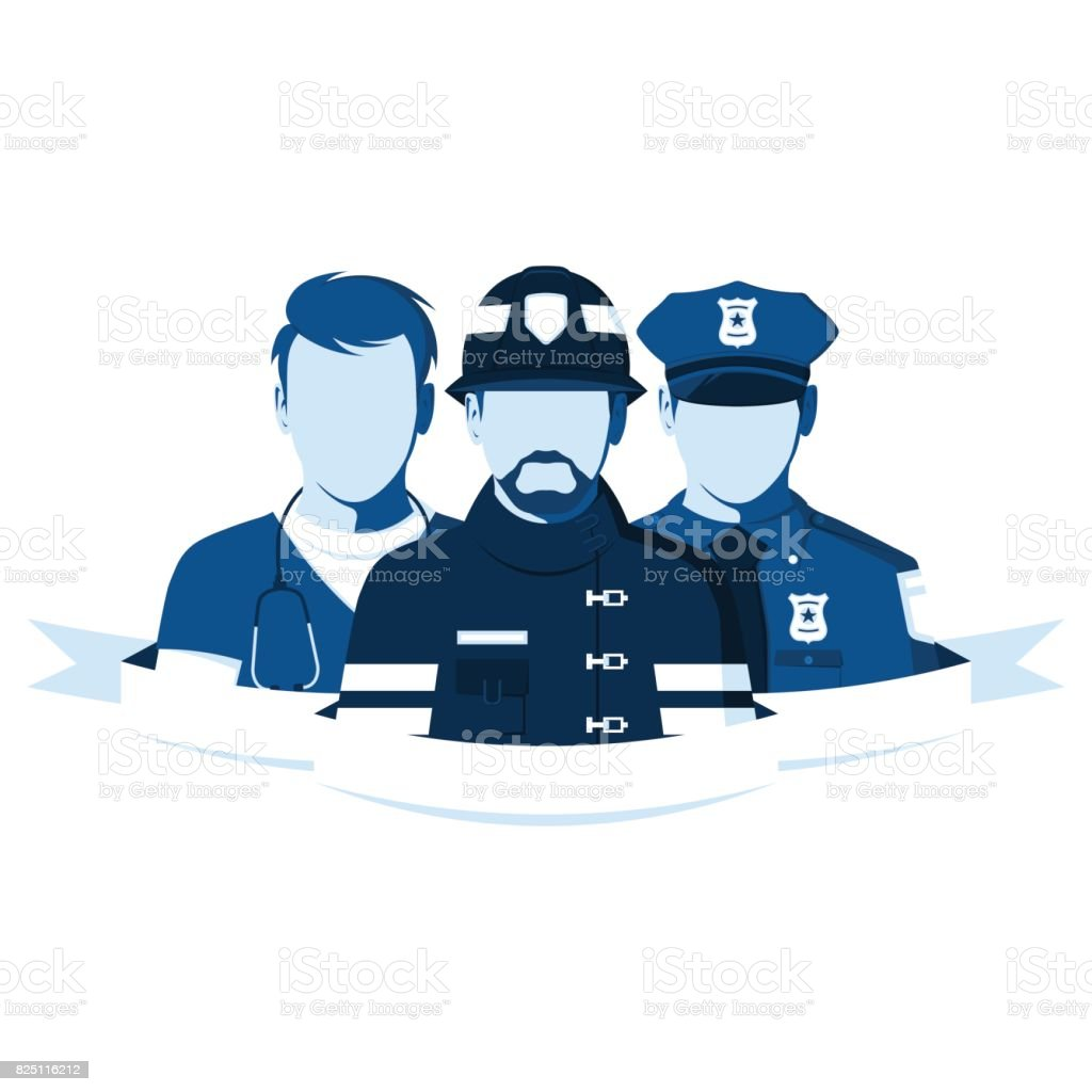 Employees of the ambulance, police and fire department vector art illustration
