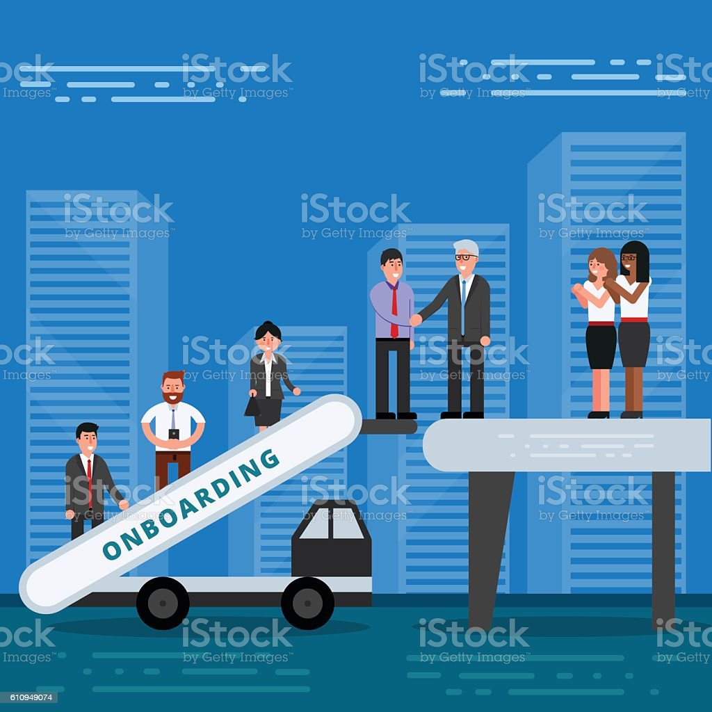 Employees onboarding concept. HR managers hiring new workers vector art illustration