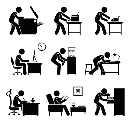 Employees using office equipments in workplace.