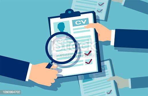Employer businessman exploring job applications