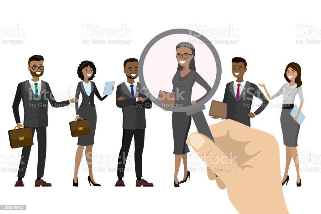Employer of choice, candidate selection, vector art illustration