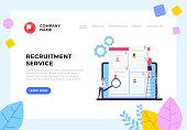Employment HR human resources recruitment management banner poster concept. Vector design graphic flat cartoon