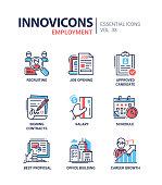 Employment- modern vector line icons set