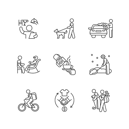 Employment opportunities linear icons set