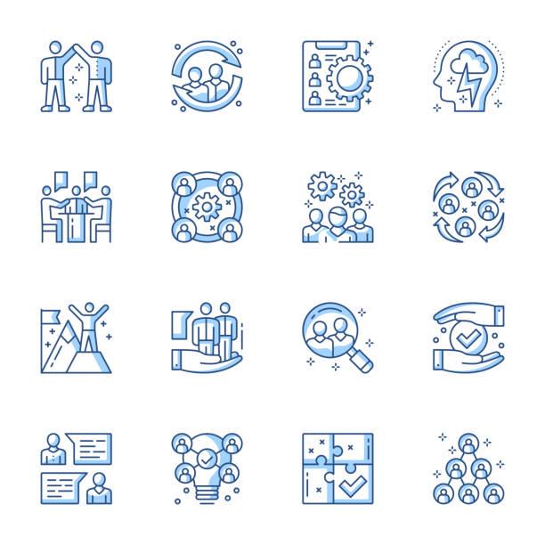 Employment service, team building linear vector icons set. Headhunting, job candidates searching contour symbols isolated pack. – artystyczna grafika wektorowa