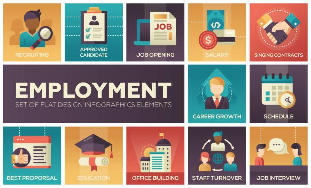 employment - set of flat design infographics elements - stopnie do sukcesu stock illustrations