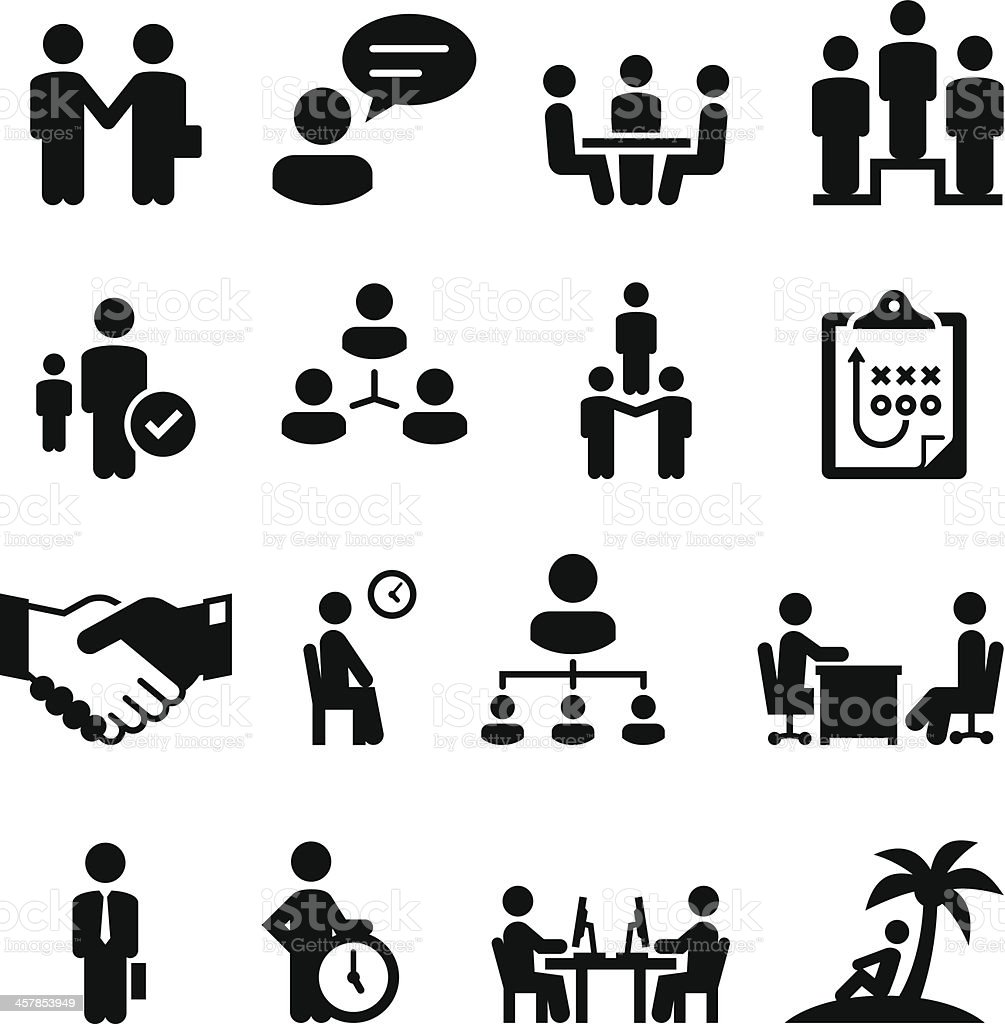 Employment Situations Icons - Black Series vector art illustration