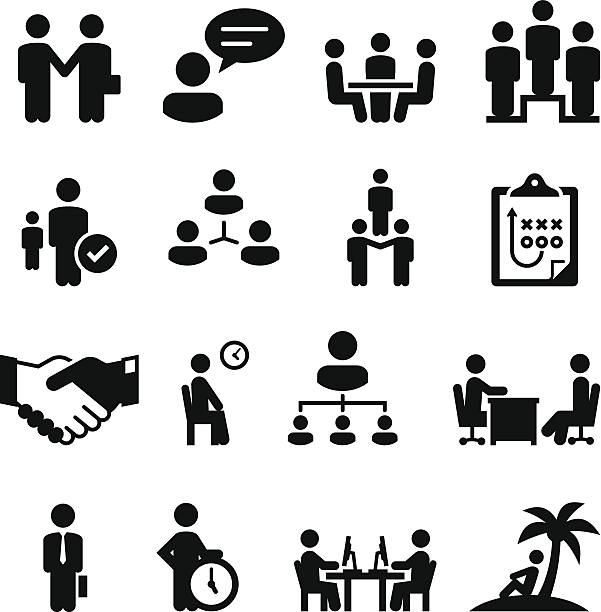 Employment Situations Icons - Black Series Professional clip art for your print or Web project. See more icons in this series. airport clipart stock illustrations