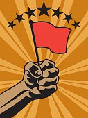 Empowered Fist Holding Flag Background - Victory, Sports