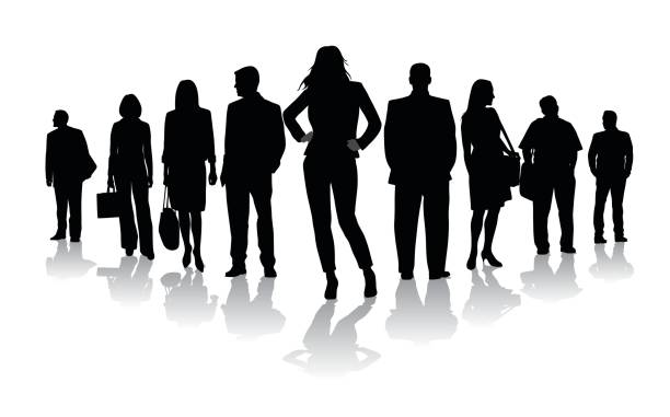 ilustrações de stock, clip art, desenhos animados e ícones de empowered stance crowd - portrait of confident business