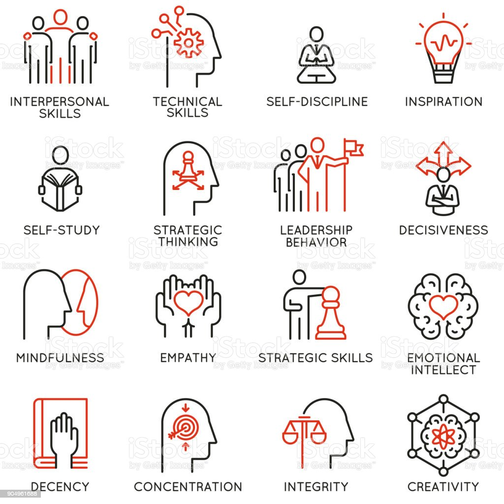 Empowerment leadership development and qualities of a leader icons royalty-free empowerment leadership development and qualities of a leader icons stock illustration - download image now