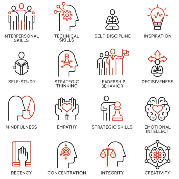 Empowerment leadership development and qualities of a leader icons Vector set of linear icons related to skills, empowerment leadership development and qualities of a leader. Mono line pictograms and infographics design elements dignity stock illustrations