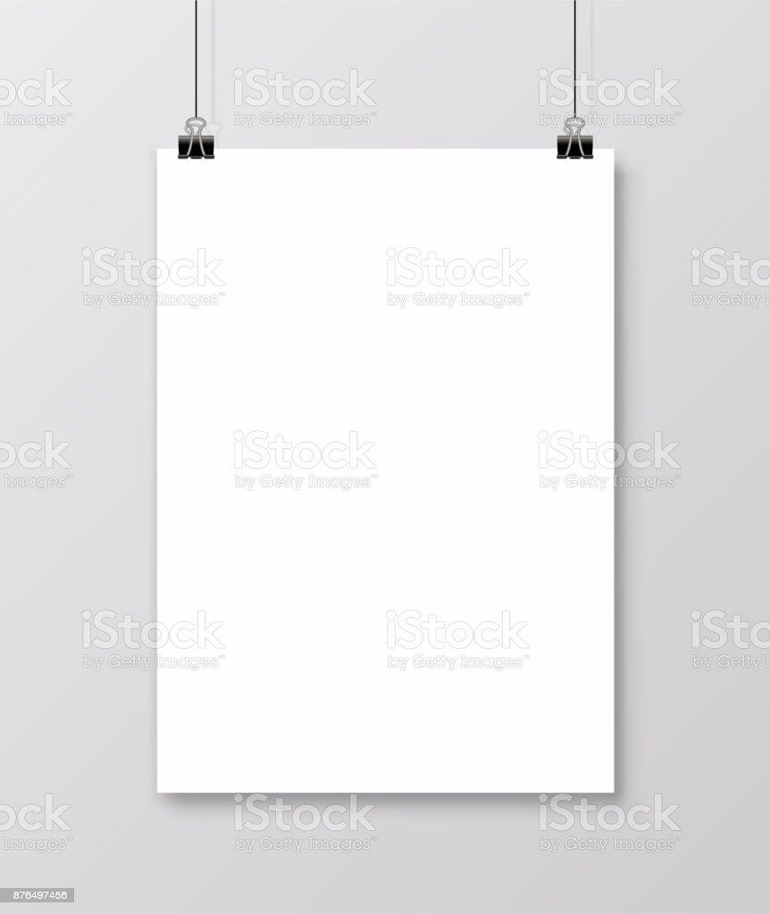 Leeres Din A4vektor Papier Rahmen Mockup Hängen Mit Büroklammer ...