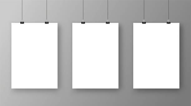 空 a4 サイズのペーパー クリップ - 株式ベクトルと一緒にベクトル紙フレーム モックアップ。 - 美術館点のイラスト素材/クリップアート素材/マンガ素材/アイコン素材