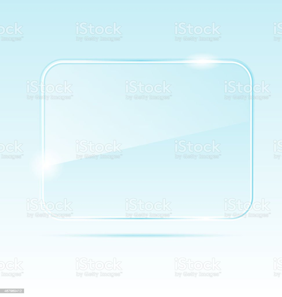 Empty abstract transparent glass banner vector art illustration
