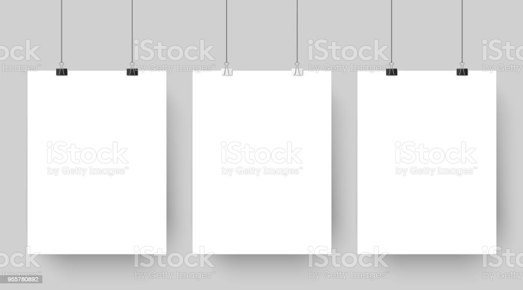Empty affiche mockup hanging on paper clips. White blank advertising poster template casts shadow on gray background vector illustration – artystyczna grafika wektorowa