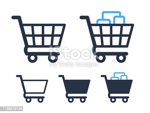 Empty and filled shopping cart icons shop and sale symbol for web buttons