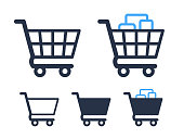 Empty and filled shopping cart symbols shop and sale icons