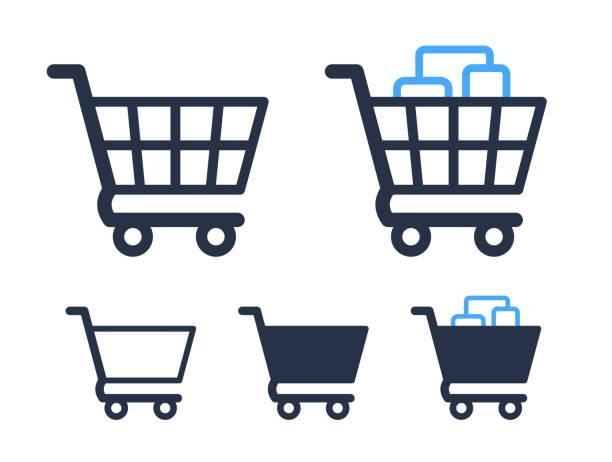 puste i wypełnione symbole koszyka sklep i ikony sprzedaży - handel detaliczny stock illustrations