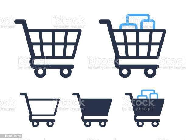 Empty And Filled Shopping Cart Symbols Shop And Sale Icons - Arte vetorial de stock e mais imagens de Carrinho de Compras